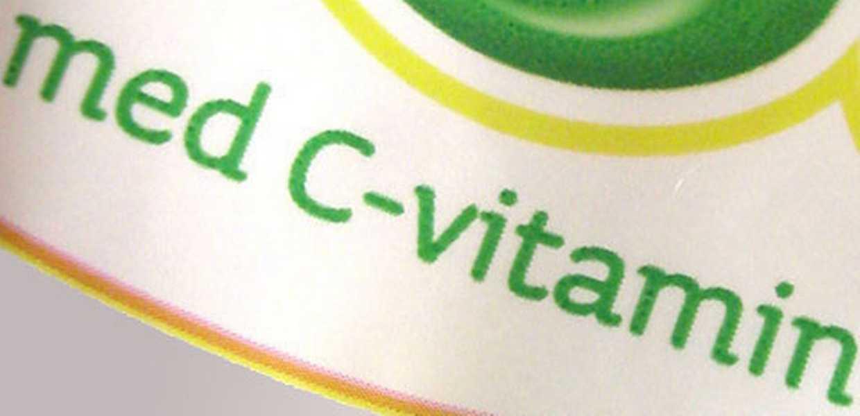 Illustrasjon som viser merking av matvare som er beriket med C-vitamin.