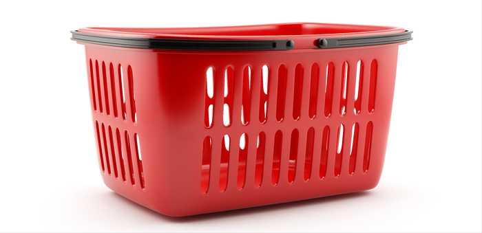 Rød handlekurv av plast