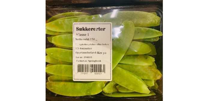 Sukkererter fra Kenya merket «Sugersnaps» og «Sukkererter».