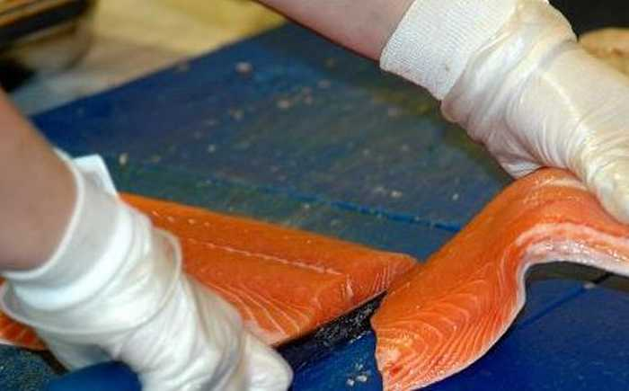 Laksefilet som skjæres opp av person med hvita hansker