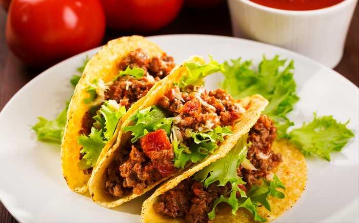 Tacoskjell med kjøttdeig og grønnsaker