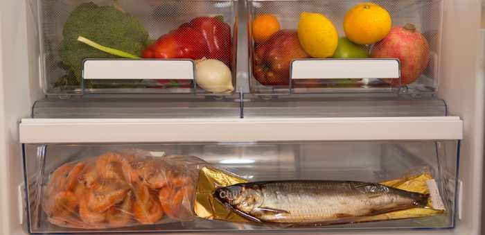 kjøleskap som er ryddig med fisk og grønnsaker i bokser