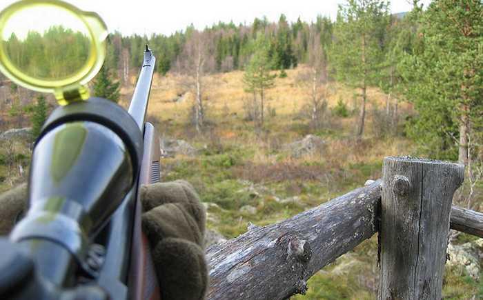 jeger med gevær/rifle som sikter