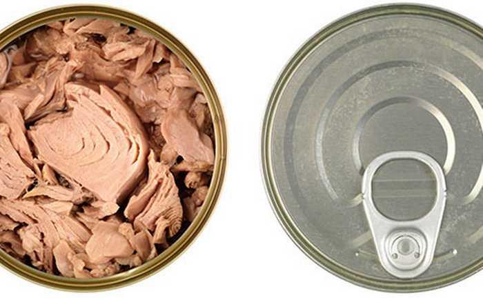 En åpen og en lukket boks med tunfisk