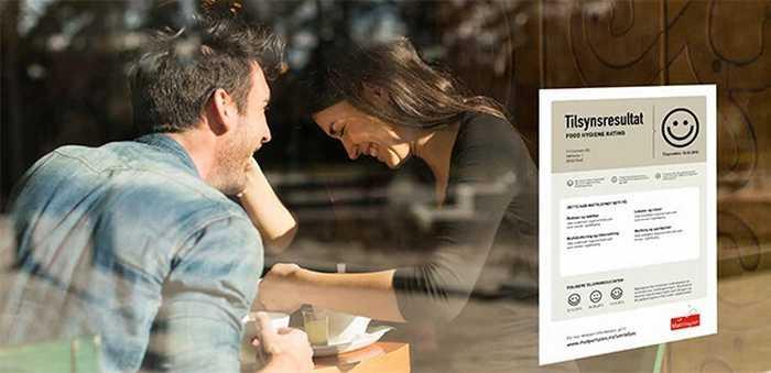 Smilefjesplakat på et kafévindu, med mann og kvinne ved et kafébord.